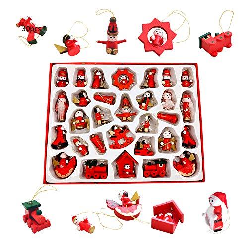 Anyingkai 30pcs Adornos Navidad Madera,Colgante de Madera Navideño Pintado a Mano,Navidad de Madera,Ornamentos de Navidad,Colgantes de Navidad (Rojo-30)