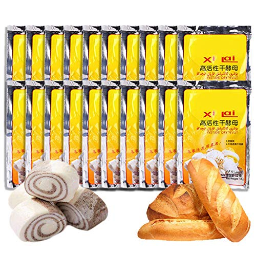 20 Pcs Bread Yeast,Active Dry Yeast High Glucose Tolerance Kitchen Baking Supplies,240g Yeast for Bread Making