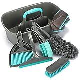 com-four® 7-teiliges Reinigungsset - Putz-Set für den Haushalt mit vielen Reinigungsutensilien, wie Besen, Eimer, Bürste, Staubwedel, Abzieher und mehr