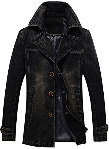 chouyatou Men's Classic Notched Collar Single Breasted Rugged Wear Lined Denim Trucker Jacket (Black, X-Small)