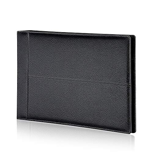 7 Ring Executive Business Check Binder 600 Checks Capcity for 9' x 13' Sheets, PU Leather Checkbook Holder with Zip Pouch