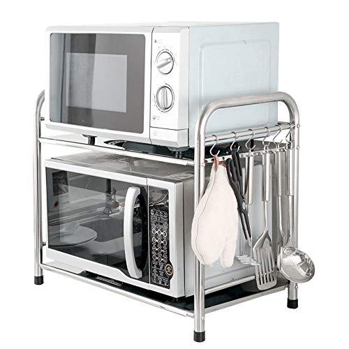 LERDBT Stehend Regaleinheiten Edelstahl Mikrowellenherd Rack-Küche Storage Rack 2-Tiers Lagerung Regal Rack-Reiskocher Ofen Aufbockvorrichtung Ausgezeichnet für die Gastronomie