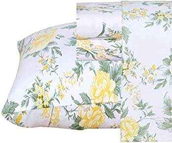 Ruvanti 100% Cotton 4 Pcs Flannel Sheets California King Floral Design Deep Pocket Warm-Super Soft-Breathable Moisture Wicking Flannel Bed Sheet Set -Flat Sheet,Fitted Sheet with 2 Pillowcases