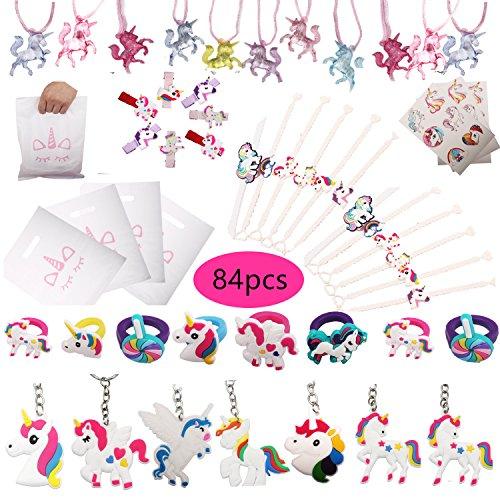 Unicorn Set met 84 cadeaubon voor eenhoorn, armband, ringen, sleutelhangers, halsketting, tattoos, haarklemmen, eenhoorn, partytassen, regenboog, eenhoorn, verjaardagsfeest, inclusief set