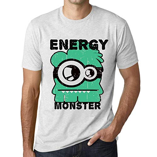 One in the City Hombre Camiseta Vintage T-Shirt Gráfico Energy Monster Blanco Moteado