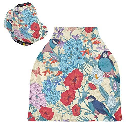 Sinestour Fundas de asiento de bebé vintage con diseño de hojas de flores de pájaros, fundas de lactancia y lactancia materna, toldo multiusos para asiento de coche, para niño