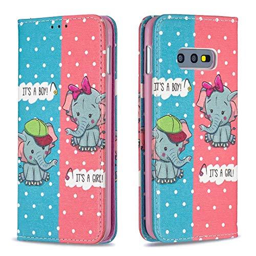 Miagon Brieftasche Hülle für Samsung Galaxy S10e,Kreativ Gemalt Handytasche Case PU Leder Geldbörse mit Kartenfach Wallet Cover Klapphülle,Elefant
