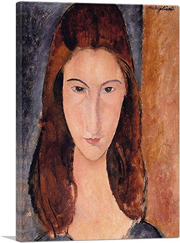"ARTCANVAS Portrait of Jeanne Hebuterne 1919 Canvas Art Print by Amedeo Modigliani - 18"" x 12"" (1.50"" Deep)"