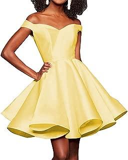 Off Shoulder Homecoming Dresses A Line Satin Prom Formal Evening Dress with Pockets