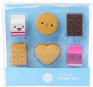 GUSENG 6pcs/Set Kawaii Biscuit Milk Rubber Pencil Eraser Kids Student School Stationery