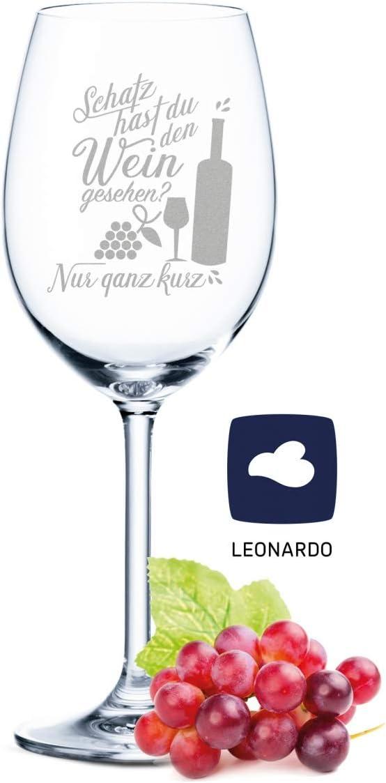 Copa de vino Leonardo con grabado – Schatz hast du den Weinsicht, regalo para aficionados de verano y amantes del vino – Copas de vino – Regalo de cumpleaños para mujeres y hombres