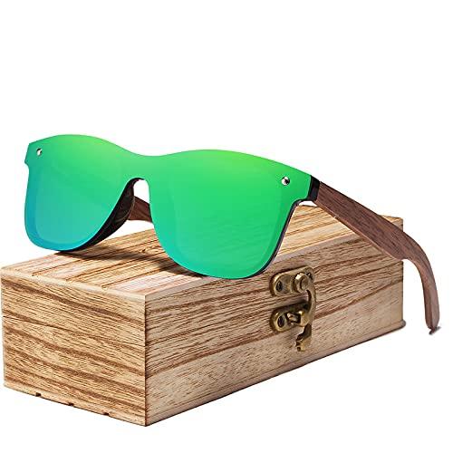 UKKO Gafas de Sol Hombre Hombres Gafas De Sol Polarizadas Nueces Espejo De Madera Uv400 Lentes Gafas De Sol Mujeres Coloridos Tonos Hechos A Mano