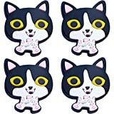 Four (4) of Black and White Cat Rubber Charms for Wristbands and Shoes