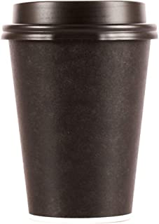 Disposable Hot Cups With Lids - 12 oz To Go Coffee Cups (100 Set) With Compatible Black Lids To Prevent Leaks. Paper Hot Cup Holds Hot, Cold Beverages. (Black)
