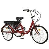 CXSMKP 24-Zoll-7-Gang-Dreirad Für Erwachsene 3-Rad-Trike-Fahrrad Mit Einkaufskorb, Last 150 Kg, Vordere V-Bremse, Sattel Und Korbanzug Für Männer, Frauen Und Älteste,Rot