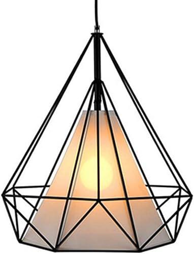 YIKUI Lumière pendentife, Tissu Rétro Et Ombre en Métal Lampe Moderne, 28  28  28 Cm, 1  E27 Noir [Efficacité énergétique A + +]