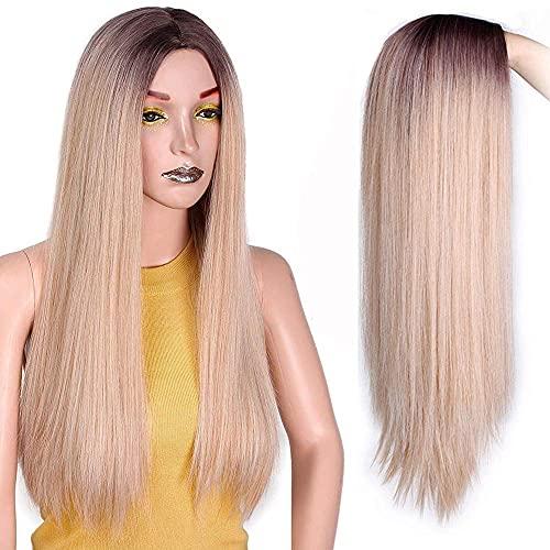 Jsmhh Ombre recto platino peluca rubia mujer toupee largo pelucas de mujer parte media peluca rubia alta temperatura fibra