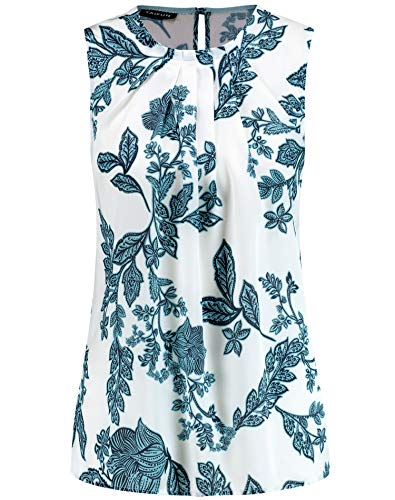 Taifun Damen Ärmellose Bluse mit Floral-Print figurumspielend Offwhite Gemustert 42
