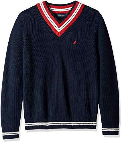 Nautica Men's Long Sleeve Cable Tipped V-Neck Sweater, Navy, Large