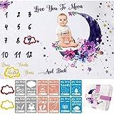 Babydecken Mit Monatlichen Meilensteinen Geschenke für Babys Geschenke für Junge Mütter Einschließlich 12 Baby-Momentkarten mit Aufzeichnungen und Personalisierten Kostbaren Momenten
