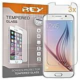REY 3X Protector de Pantalla para Samsung Galaxy S6, Cristal Vidrio Templado Premium