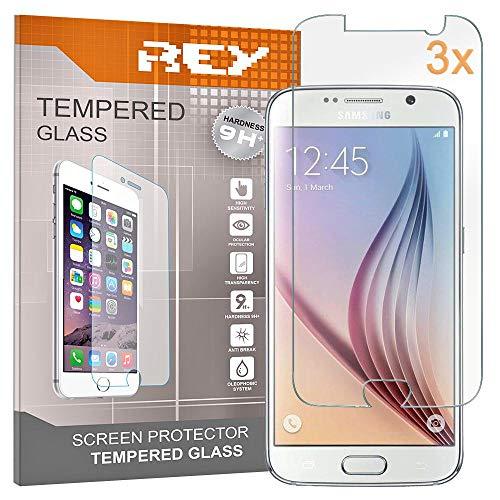 REY 3X Protector de Pantalla para Samsung Galaxy S6, Cristal Vidrio Templado...