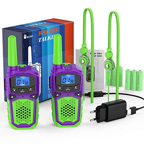woktok Walkie Talkies Niños Recargables 8 Canales Función VOX de hasta 3 km en Area Abierta con Pantalla LCD Retroiluminada Ideal para Actividades de Aventura al Aire Libre Jugar Camping
