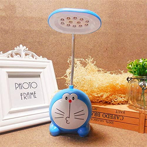 Lámpara de mesa LED de dibujos animados azul Jingle Cat para niños leer escritorio lámpara de noche luz creativa carga LED lámpara de mesa para dormitorio estudio
