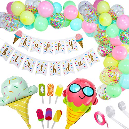 Ice Cream Birthday Party Decorations Include Ice Cream Balloons Garland Foil Balloons Ice Cream Birthday Banner Popsicle Cupcake Topper for Ice Cream Summer Girls Kids Birthday Party Baby Show Party