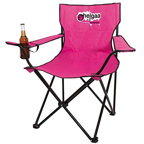 """""""Helgaa"""" Campingstuhl Klappsattel pink, mit Getränkehalter und Flaschenöffner"""