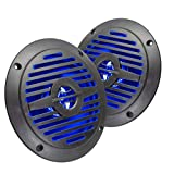 Magnadyne WR4B-LED 5 INCH Water Resistant Dual Cone Speaker with Blue LED Lights (Sold AS A Pair)