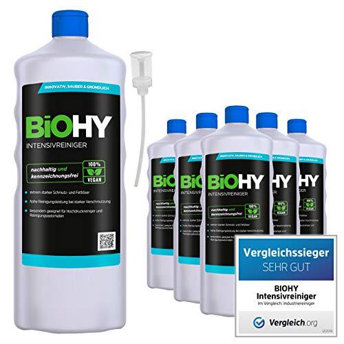 BiOHY Limpiador intensivo (6 botellas de 1 litro) + Dosificador | Limpiador industrial de alto rendimiento | Limpiador básico ideal para limpiadores de alta presión (Intensivreiniger)