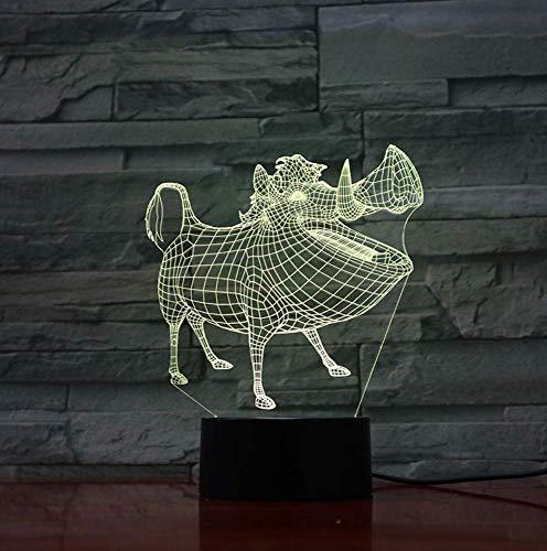 Veilleuse LED Décor 3D Illusion Tactile Capteur Enfant Enfant Cadeau Décoration Cartoon Le Roi Lion Lampe De Table Chambre