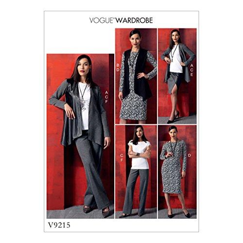 Vogue Mustern 9215ZZ Schnittmuster Jacke/Weste/Top/Kleid/Rock und Hose, Tissue, mehrfarbig, Größen lrg-xxl