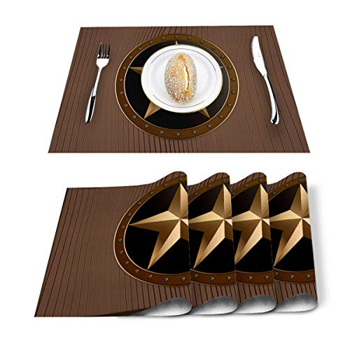 Western Texas Star Placemats Cotton Linen Heat Resistant Table Mats Set of 4 Non-Slip Washable Placemat for Thanksgiving Halloween Christmas Holiday Dining Kitchen Decor Brown Wood Barn Print