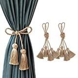 "CHICTIE 37.8"" Long Curtain Tiebacks Tassel Rope Handmade Ball Knot Sheers Draperies Lacing Holdbacks with Fringe for Window Door Bath Towel Decorative (Gold, 4)"