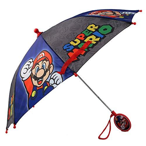 Nintendo Regular Kids Umbrella for Boys, Mario and Luigi Children's Rainwear, for Ages 3-8, Grey/Blue, Age 3-6
