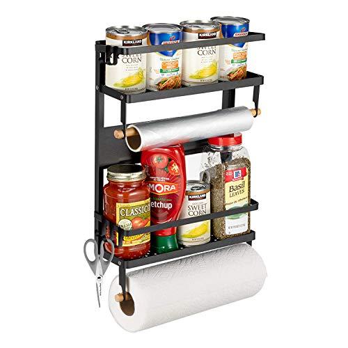 "Pittaigo Magnetic Spice Rack for Refrigerator, Multi-Tier Magnetic Shelf Fridge Organizer Refrigerator Side Rack with 2 Paper Towel Holders & 5 Removable Hooks, 18.3x11.8x4.5"" Bears up to 30lb, Black"