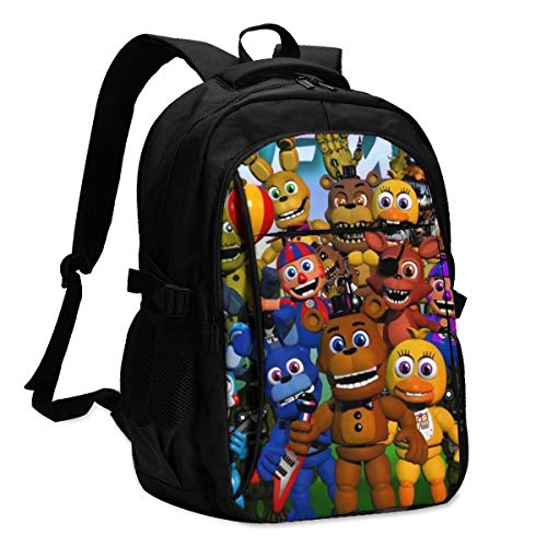 Five Nights at Freddy's Backpack Travel Business 16 Inch Laptop Backpack Bookbag with USB Charging Port for School Student