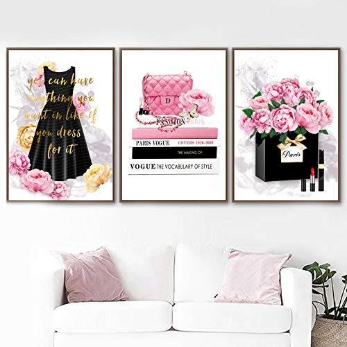 ZLARGEW Fashion Book Girl Paris Perfume Handbag Wall Art Canvas Painting Carteles nórdicos e Impresiones Cuadros de Pared para decoración de Sala de Estar / 40x60cmx3 Sin Marco