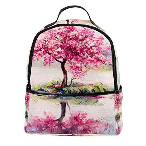 TIZORAX Cherry Tree On Lake olieverfschilderij Laptop Rugzak Casual Schouder Daypack voor Student School Bag Handtas - Lichtgewicht