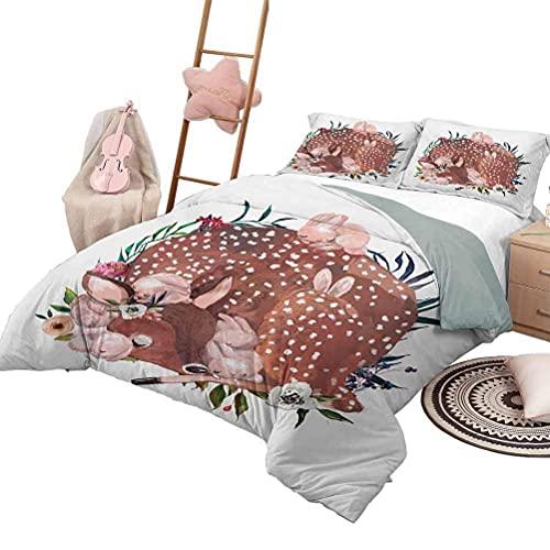 Quilt Set mit Bettwäsche Kinder 3 Stück Tagesdecken Bettdecke Tierfre& Huhn Schaf & Pferd mit Patch Motiv Zoo Joyful Cartoon Print in voller Größe Rot Orange Gelb