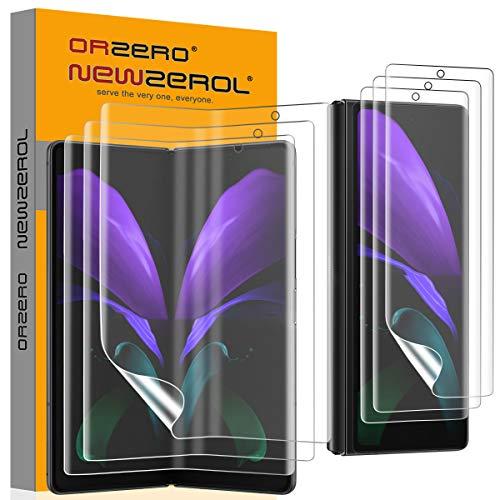 NEWZEROL 3 Paar Kompatibel für Samsung Galaxy Z Fold 2 5G Displayschutzfolie[Vorder und Rückseite] Fingerabdruckerkennung auf dem Bildschirm Premium Qualität Anti-Bubble TPU Displayschutzfolie