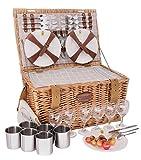 Les jardins de la comtesse – cesta picnic de mimbre concorde – 6 personas / nevera isotérmica / platos / copas de vino / tazas de metal – tejido color blanco y gris – 50 x 35 x 26 cm