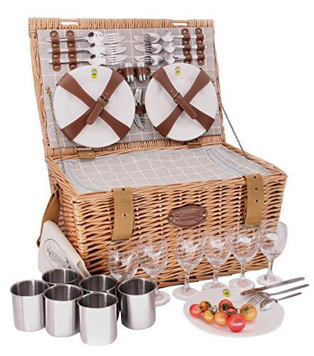 Les Jardins de la Comtesse picknickmand van gevlochten wilgentenen, voor 6 personen, koelbox, borden, wijnglazen, bekers van aluminium, wit-grijze bekleding, 50 x 35 x 26 cm