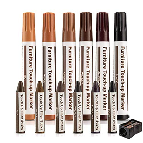 Accuyc Furniture Repair Kit Wood Markers, 13Pc Scratch Restore Kit - Markers and Wax Sticks with Sharpener Kit, for Stains, Wood Floors, Tables, Desks, Carpenters, Bedposts, Touch Ups (Brown)