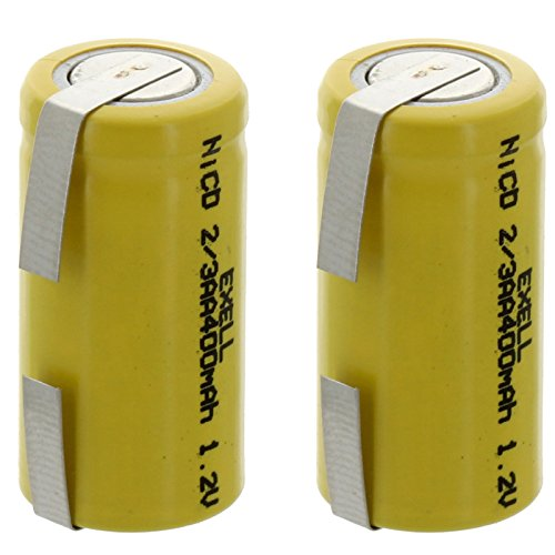 (2-PACK) Exell 1.2-Volt Nickel-Cadmium Rechargeable Battery with Tabs, 2/3 AA, 400 mAh, Battery Replacement for Audio Device, Digital Camera, electric mopeds, meters, radios, RC devices