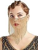 BABEYOND Crystal Rhinestone Fringe Masquerade Mask Chain Costume Headwear Mardi Gras Mask (Gold)