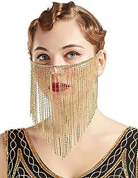 BABEYOND Crystal Rhinestone Fringe Masquerade Mask Chain Costume Headwear Mardi Gras Mask  Gold