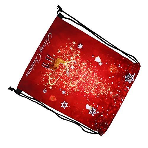 ABOOFAN Bolsa de Navidad con cordn de alce impreso rojo bolsa de regalo de Navidad bolsa de regalo con cordn mochila fiesta contenedor 43 x 33 cm